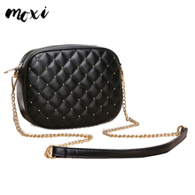 Moxi New Small Messenger Crossbody Bag For Womens Korean Rivet Chain Leather High Quality Fashion Lady Girl Daily Shoulder