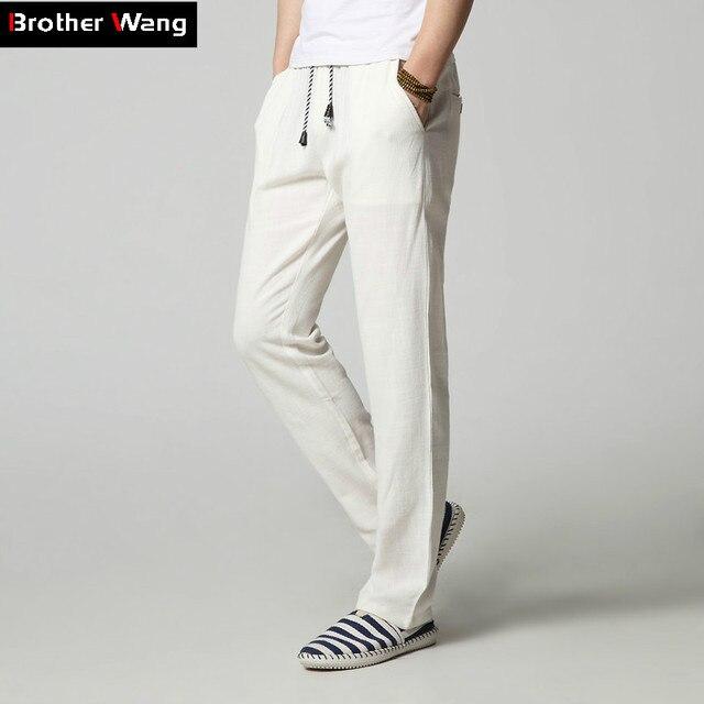 New Men 's Casual Pants Fashion Plain Linen Straight Loose Trousers Brand Men's Clothing Comfort Linen Pants Large Size M-4XL