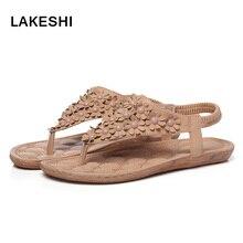 Lakeshi бисером женские босоножки Коллекция 2017 г.; летние сандалии Женские туфли-лодочки сандалии Дамская обувь