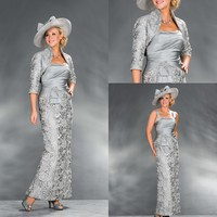 2015 Silver Lace Mother Of The Bride Dresses Outfits Suits With Jacket Taffeta Vestido De Madrinha
