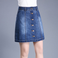 2018 Summer Skirts Womens A Line Mini Jeans Skirt Blue Short Denim Skirt Women Single breasted Wild Slim Plus Size Skirt Female