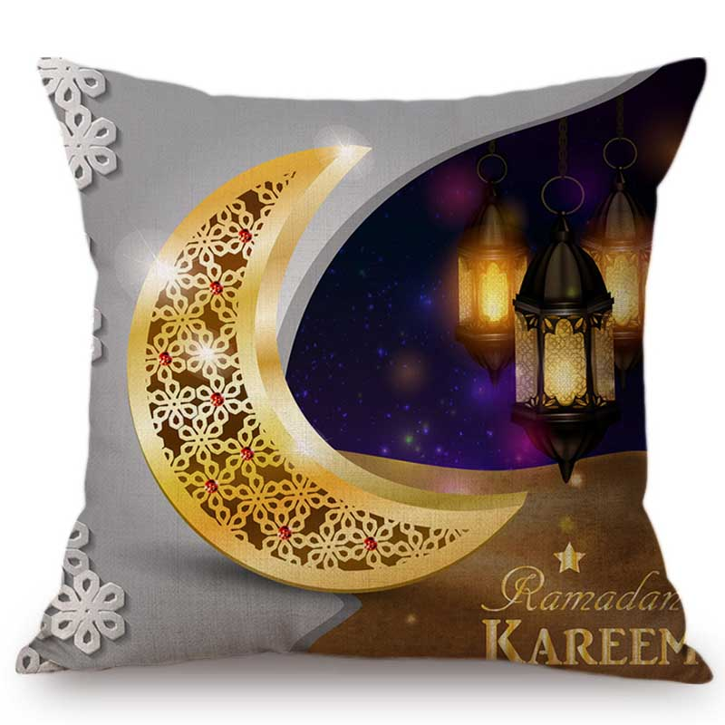 Red Middle East Islamic Muslim Religion Worship Eid Mubarak Ramadan Decoration Sofa Throw Pillow Case Cotton Linen Cushion Cover