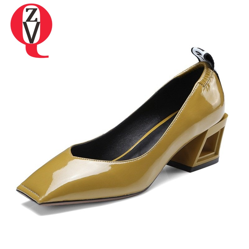 ZVQ newest convenient spring chaussures square toe all-match style genuine leather single shoes woman kitten heels pumps