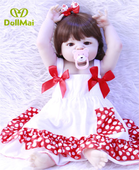 57cm Reborn Baby Doll Silicone lifelike bathe toy girl Body 23'' Newborn stylish collectible menina princess Christmas gift
