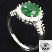 3.7g Guarantee Real 925 Solid Sterling Silver Round Green Emerald CZ Ladies Womans Ring 20x12mm