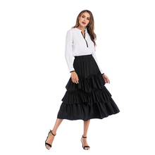 Women Elegant Vintage Cake Skirt Summer Retro Solid Color High Waist Flared Skirt Ruffles A Line Female Midi Skirts Jupe stylish high waisted solid color a line midi skirt for women