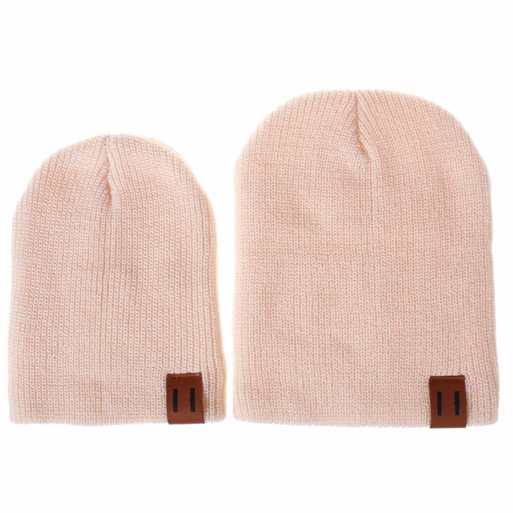 5221a9f221c Puseky 2 Piece Set Winter Hats For Matching Family Dad Baby Boys Knitted Hat  Beanies Cap Wool Warm Skullies Solid Beanie-in Hats   Caps from Mother    Kids ...