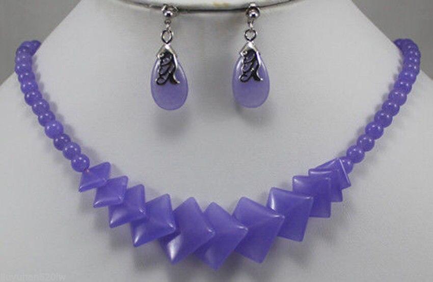 Pendientes púrpura hermosa jade collar de la AAA estilo 100% Natural jade Noble fina jewe