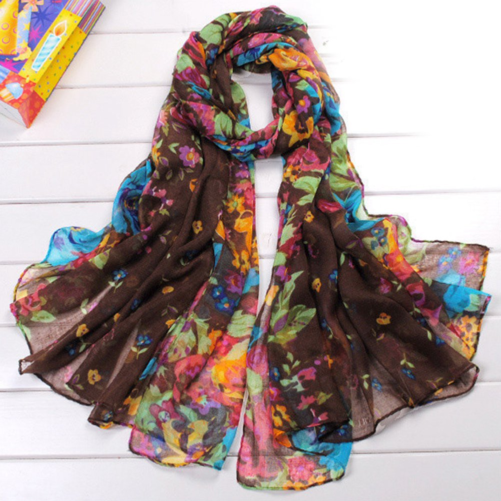 2018 Spring Scarf Women Lady Multi-color  Flower Print Lady Scarf Long Soft Wrap Shawl Stole Pashmina