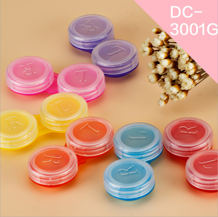 LIUSVENTINA Portable Wholesale Transparent Simple Contact Lens Case for Color Lenses Gift for Girls 20pcs/lot Random Mix Color