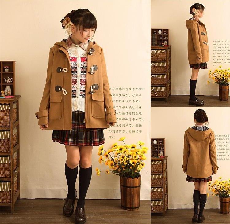 Japanese Girls School Studente Uniformi JK Corno Fibbia Cappotto di Trincea Carino Inverno Maniche Lunghe Outwear 3 Colori-in Lana e misto lana da Abbigliamento da donna su  Gruppo 2