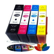 4 x Compatible ink cartridge for 178 XL for Photosmart 5510 5515 6510 B109a B109n B110a B210b B209a B210a 3070A with chip