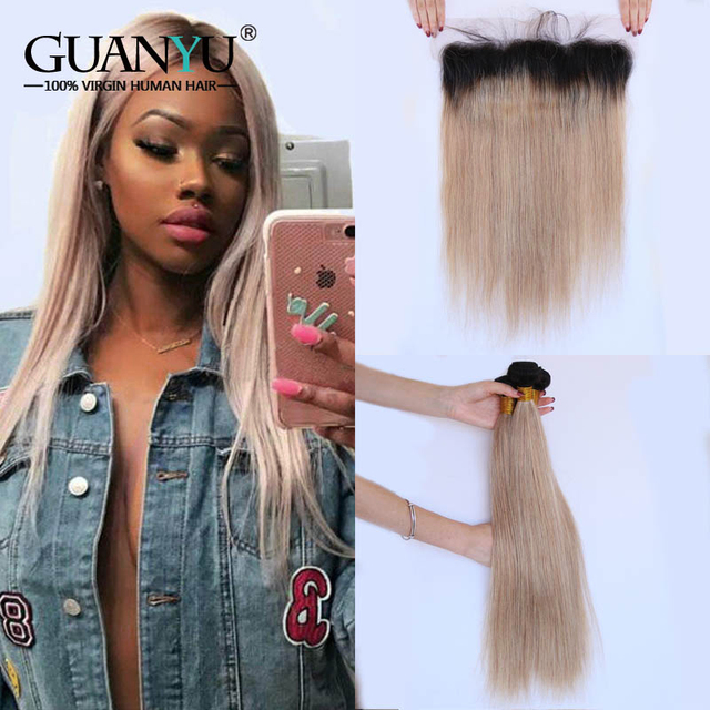 Guanyuhair #1B/27 Dark Roots Straight Ombre Hair 3 Bundles With 13x4 Lace Frontal Closure Ear to Ear Brazilian Human Hair Remy