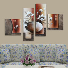White Tulips In a Vase 4pcs Diamond Painting Full Round Embroidery Beaded Cross Stitch Wall Decor