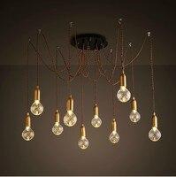 Nordic американских ретро Винтаж промышленного подвесной светильник с 10 светильники с кристаллом Стекло абажур Lamparas colgantes