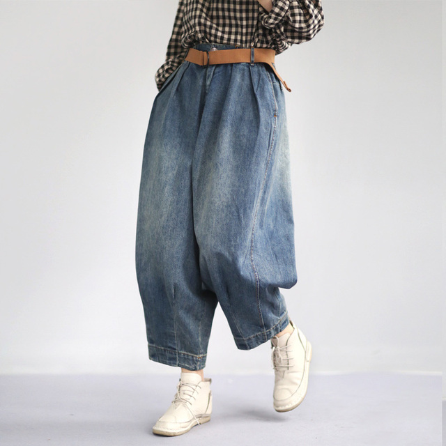 Johnature Women Denim Pants Blue Pockets Vintage Trouser 2019 Spring New Button Fly Wide Leg Pants For Women Clothing Casual