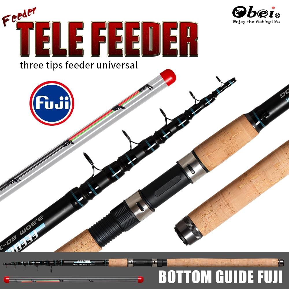 Caña de pescar de alimentador de tele método alimentador de energía portátil telescópica profesional de alto carbono 3,3 m 3,6 m carpa señuelo peso 60 -180g obei