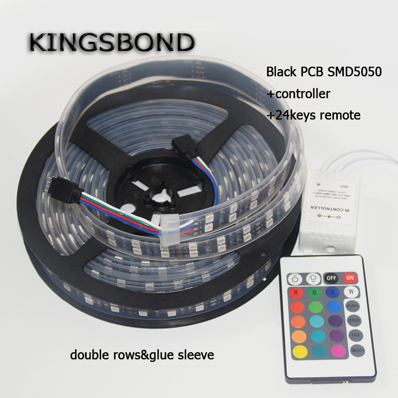 Black PCB 5050 RGB Double Row Led Strip Lamps 120LED/M 600LED DC12V IP65 Waterproof with 24key Controller Flexible Lamps 5M/Roll auxmart triple row led chips 12 led