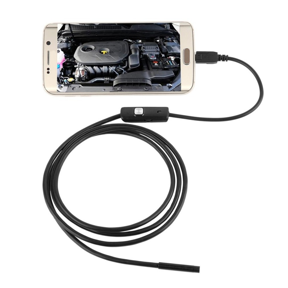 LESHP 1 M /7mm Lens USB Cable Mini Inspection Camera Snake Tube Waterproof Endoscope Borescope with 6 LED for Android Phone PC 5m 5 5mm lens rigid cable usb waterproof endoscope inspection mini camera ip67 snake tube with 6 led borescope for pc android
