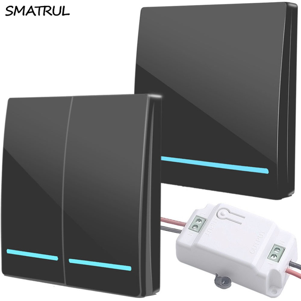 SMATRUL wholesal 433Mhz smart push Wireless Switch Light RF Remote Control AC 110V 220V Receiver Wall Panel button Ceiling LampSMATRUL wholesal 433Mhz smart push Wireless Switch Light RF Remote Control AC 110V 220V Receiver Wall Panel button Ceiling Lamp