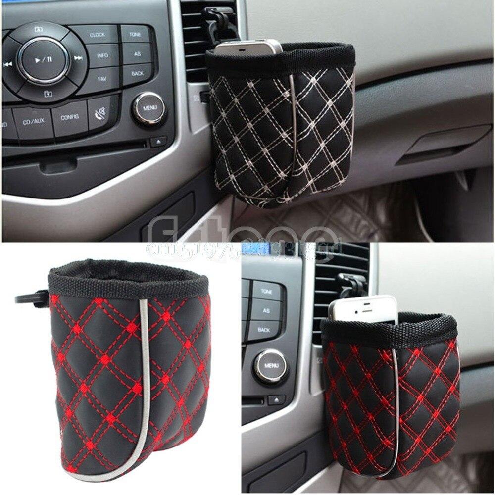 1PC Car Air Vent Mobile Phone Mesh Holder Pocket Debris Storage Organizer Pouch Bag T518