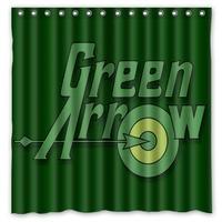 Green Arrow Waterproof Shower Curtain Home Bathroom Curtains with 12 Hooks Polyester Fabric Bath Curtain