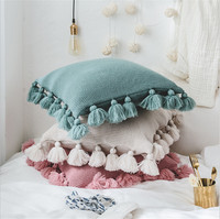 Fall Tassel design Cushion Cover Removable Knitted Pillow Cover 100% Cotton Decorative Pillows Case 45X45cm Throw Pillows Case