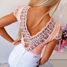 купить Summer Women T shirts Fashion Women Lace Patchwork Sexy Backless T-shirts Casual Tops V Neck Short Sleeve Tee Shirt Femme 2019 онлайн