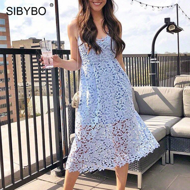 Sibybo Lace Dress Sibybo Lace Crochet Spaghetti Strap Summer Party Dress Sleeveless Hollow  Out V-Neck Sexy Long Dress Women Beach Bodycon Dress