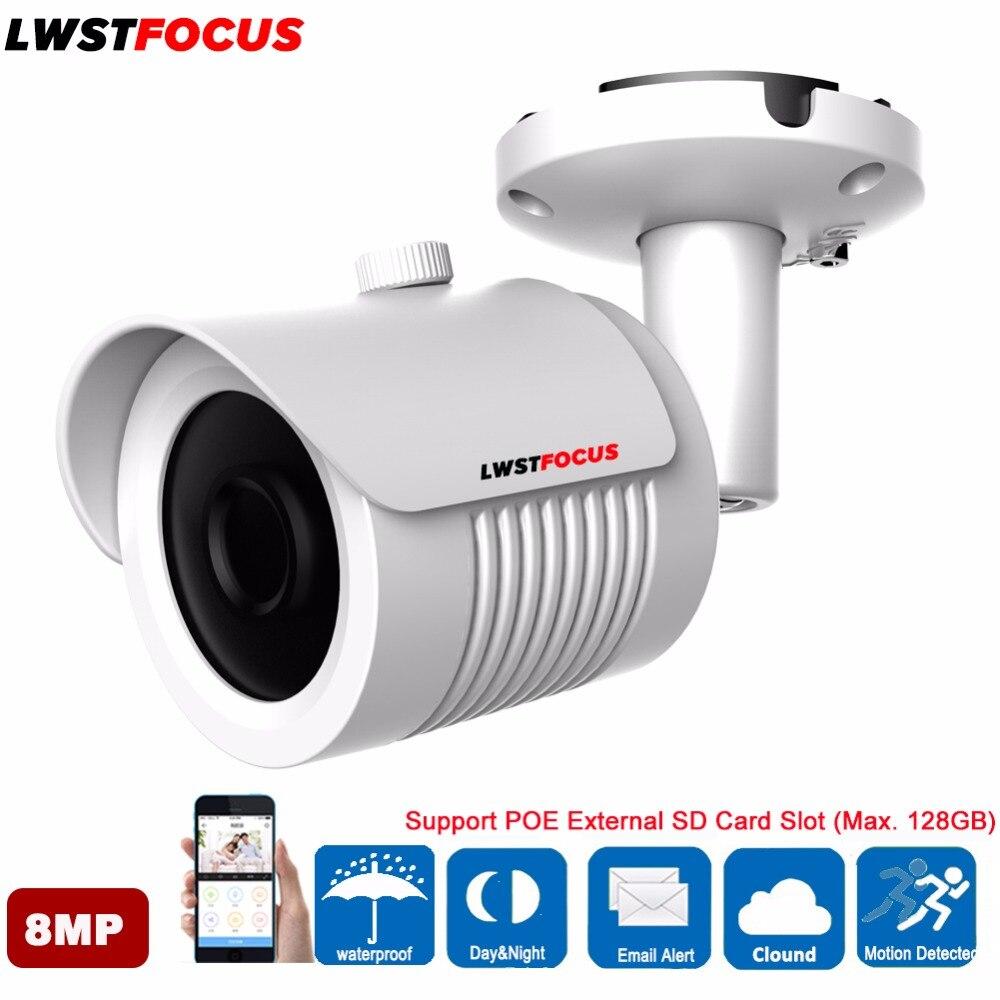 LWSTFOCUS 4 К 8MP H.265 IP Камера ИК IP67 IK10 POE Мини Пуля POE IP Камера 8MP 4 мм объектив с высоким Разрешение 3864 (В) * 2218 (V)