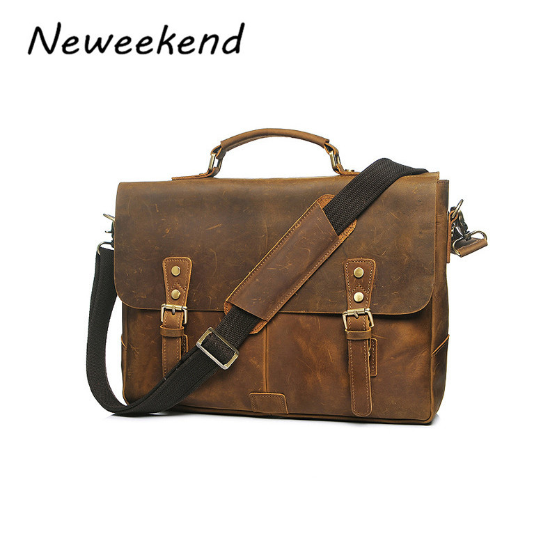 NEWEEKEND Retro Casual Genuine Leather Crazy Horse 14 Inch Cowhide Crossbody Briefcases Handbag laptop Ipad Bag for Man YD-8048 neweekend 1005 vintage genuine leather crazy horse large 4 pockets camera crossbody briefcase handbag laptop ipad bag for man