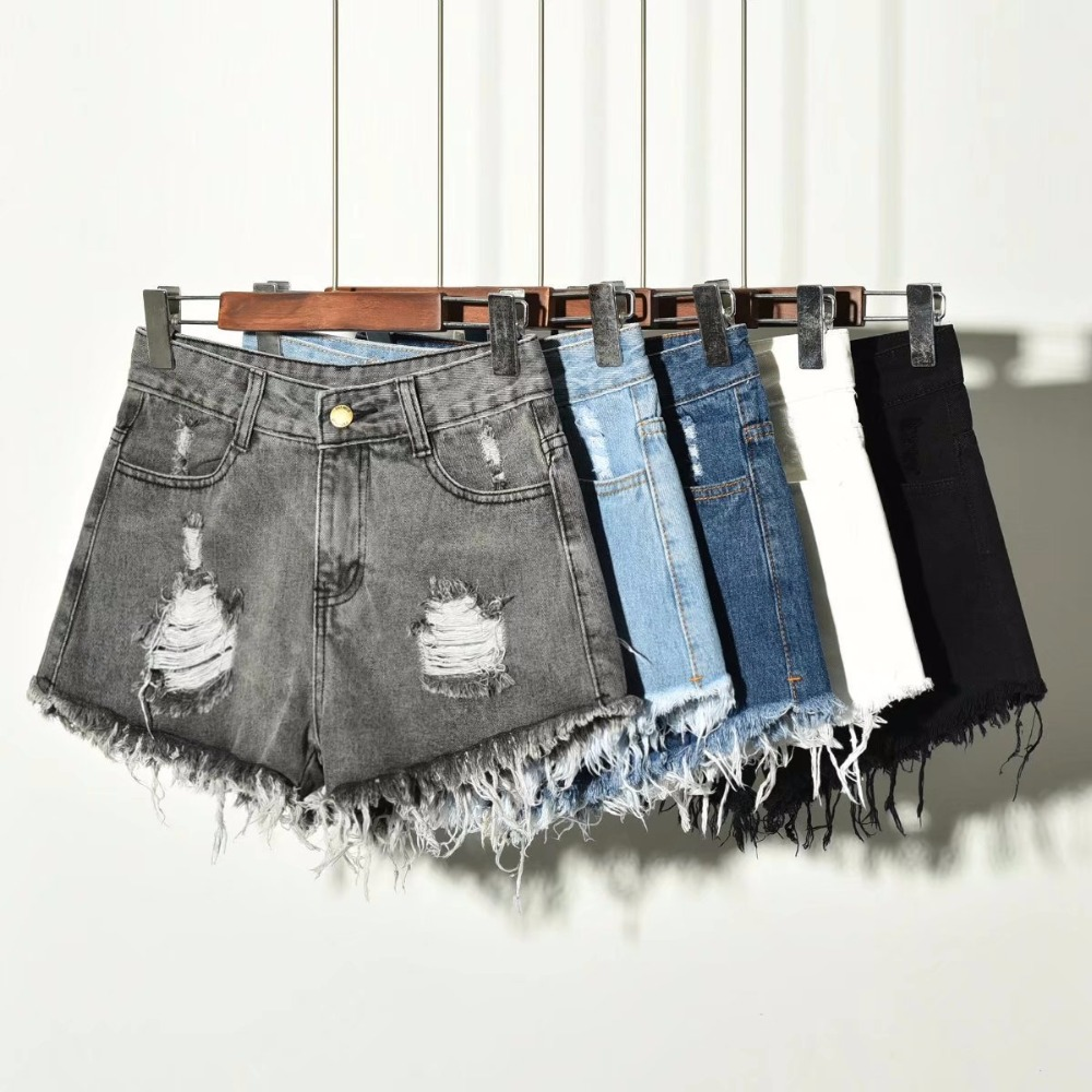 Vintage   Short   Feminino Ripped Hole Fringe Plus Size Denim   Shorts   Women Casual Pocket Jeans   Shorts   2019 Summer Girl Hot   Shorts