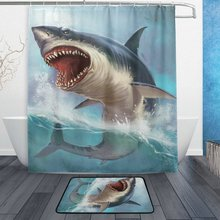 Ocean Sea Shark Dusch Gardin och Mat Set, Funny Sea Animal Vattentät Fabric Badrum Gardin