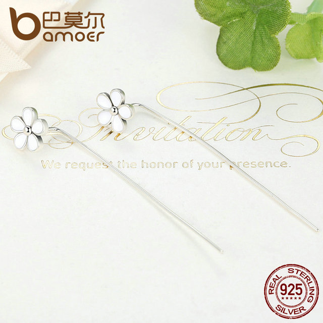 Sterling Silver White Flower 5.5 CM Long Drop Earrings