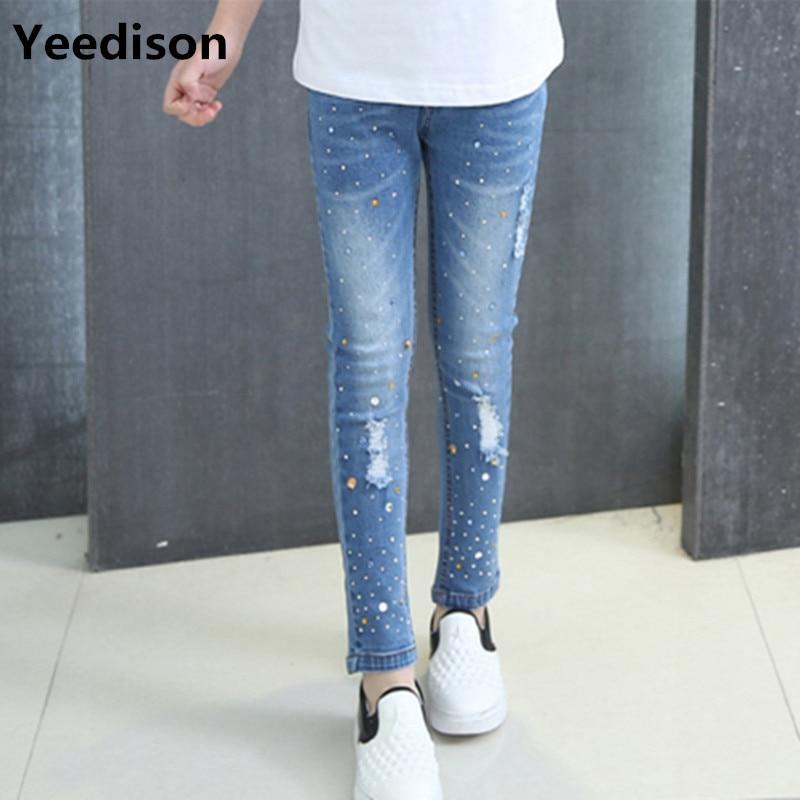 818b8c8b866 Girls Jeans 2018 Plus Size Baby Girls Pants Slim Skinny Kids Leggings  Cotton Casual Children Girls