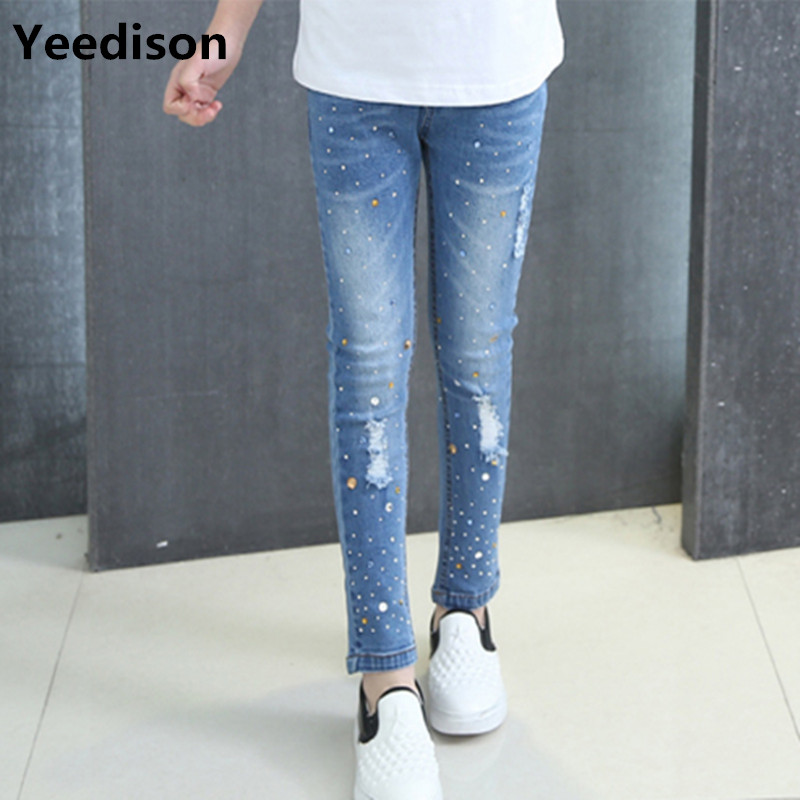 Girls Jeans 2018 Plus Size Baby Girls Pants Slim Skinny Kids Leggings Cotton Casual Children Girls Clothes 6 8 10 12 14 Year tommy hilfiger new white navy women s size 16 slim skinny striped jeans $79 394