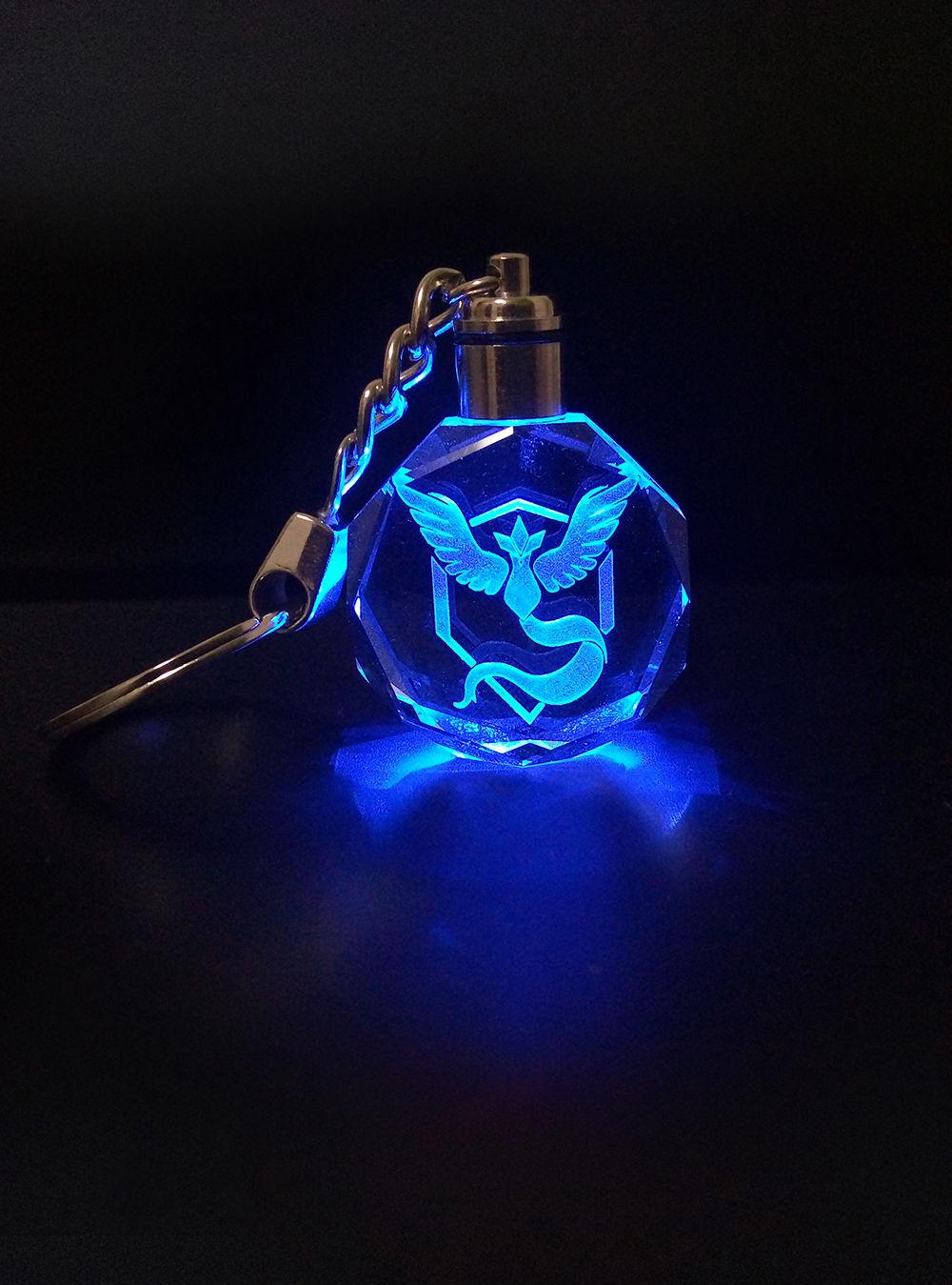 Pokemon Go crystal LED  team logo Keychain Team Instinct