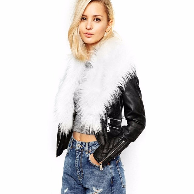 Autumn Winter Women Vest Big Yards Was Thin Zipper Leather Jacket Leather Grass Fur Collar Coats Jacket Patchwork HQMJ020