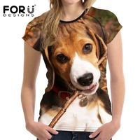 FORUDESIGNS Funny 3D Animal Beagle Dog Print Women Summer T Shirts Harrier Short Sleeve Top Clothes