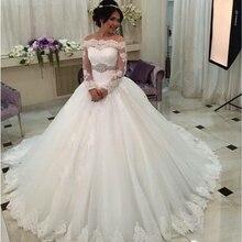 Saudi Arabia WEDDING DRESS Robe de mariage Luxury Long Sleeve Wedding Dresses Lace Bride Ball Gown Crystals Belt Plus Size