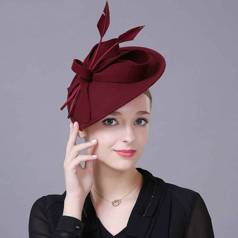 Women Top Grade Fascinator Hat Cocktail Wedding Party Headpiece Fashion Headwear Lady Hairbands Pure Wool Hair Accessories
