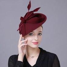 נשים למעלה כיתה Fascinator כובע קוקטייל מסיבת חתונת כיסוי ראש האופנה בארה ב Hairbands גברת טהור צמר שיער אבזרים