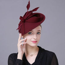 Kobiety Top Grade Fascinator Hat koktajl ślubny nakrycie głowy na przyjęcie moda nakrycia głowy Lady Hairbands czysta wełna akcesoria do włosów