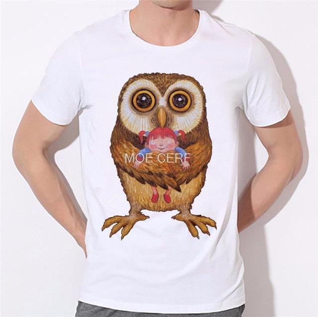 Neue Cartoon owl charakter gedruckt t-shirts 2017 Herren druck t-shirt Eule luxus t-shirt kanada Marke kleidung B-161 #