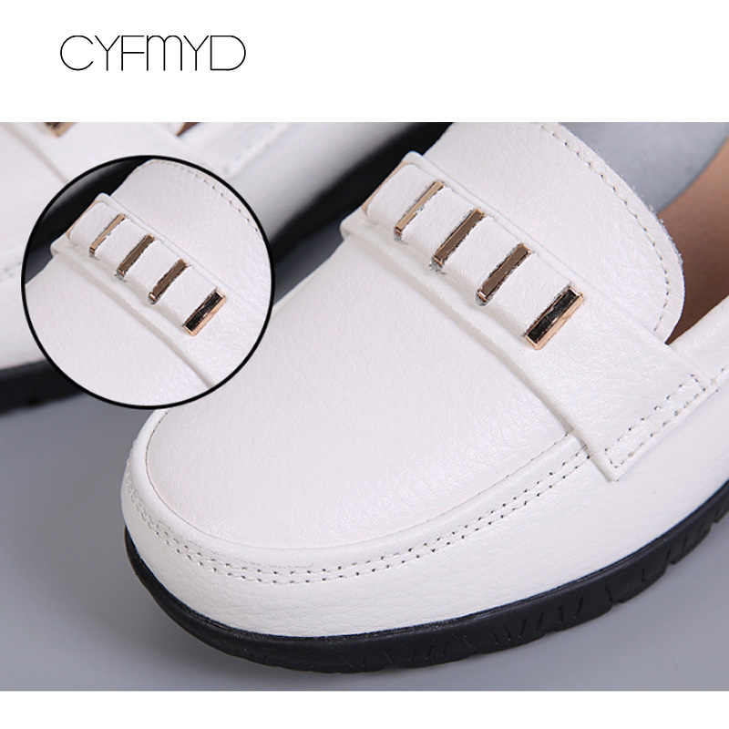 รองเท้าหนังวัวผู้หญิงฤดูใบไม้ผลิ/ฤดูใบไม้ร่วง 2019 รองเท้า Wedges รองเท้าผู้หญิง SLIP-ON รองเท้า Loafers รอบ Toe หนังแท้รองเท้า