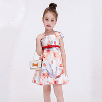 New Baby Girl Party Dress Flower Printed Baby Girls Frock Designs 2016casual Dresses For Teens Girls