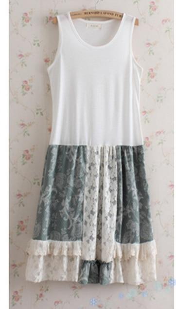 Японский Mori girl платье для женщин милые Свободные Лоскутные Танк дна кружевные цветочные без рукавов женское платье каваи C083 - Цвет: color 1