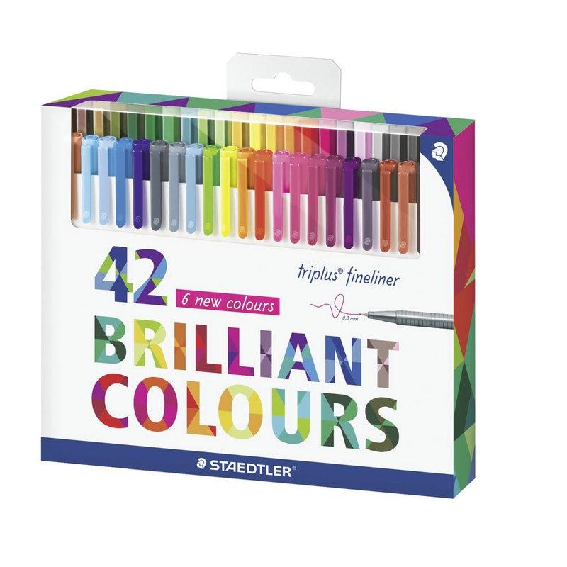 1 Set Staedtler 334 C42 Triplus Fineliner Pen 0.3mm Metal Clad Tip Marker Brilliant Colours