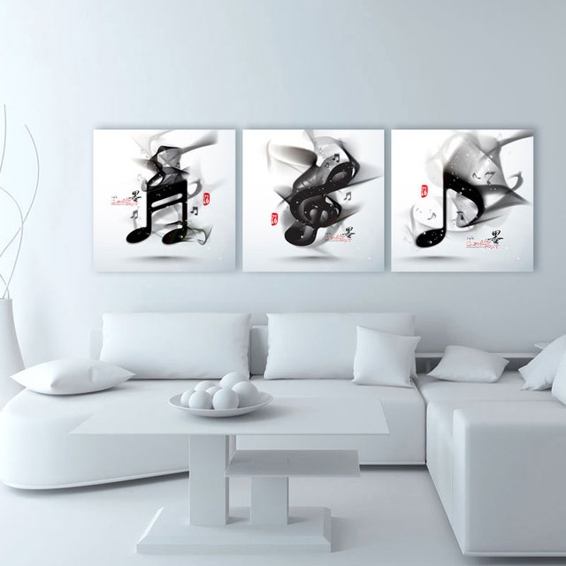 3 panel classical black and white piano music notes modern wall art home decoration printed oil