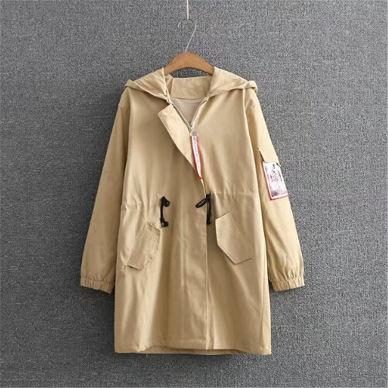 Large size XL-4XL female jacket 2018 new spring sleeved cloth waist long windbreaker jacket female